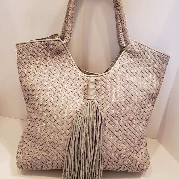 Sam Edelman Handbags - Sam Edelman Gray Woven Leather Tassel Shoulder Bag